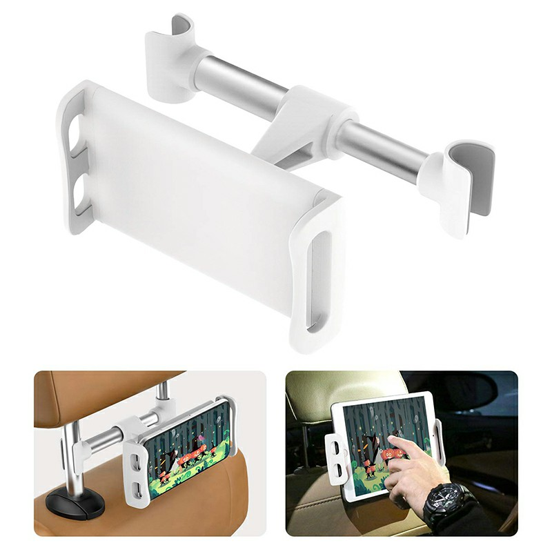 CHZ-04 Clip-On Car Headrest Mount Holder Rear Seat Plate Bracket Phone Holder for Smartphone iPad Tablet - White