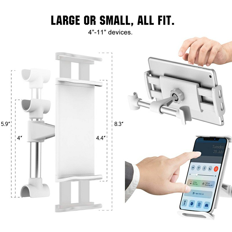 CHZ-04 Clip-On Car Headrest Mount Holder Rear Seat Plate Bracket Phone Holder for Smartphone iPad Tablet - White