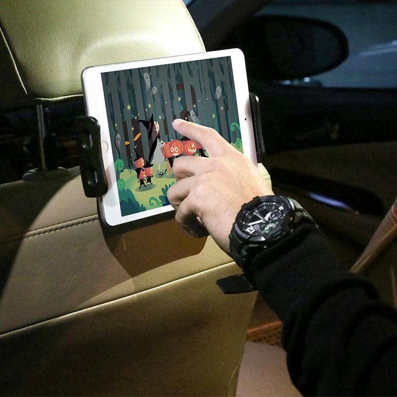 CHZ-04 Clip-On Car Headrest Mount Holder Rear Seat Plate Bracket Phone Holder for Smartphone iPad Tablet - Black
