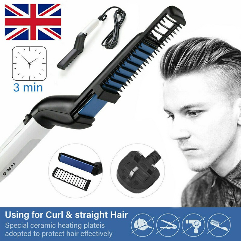 Multifunctional Hair Styler Comb Brush Quick Beard Straightening Curling Iron