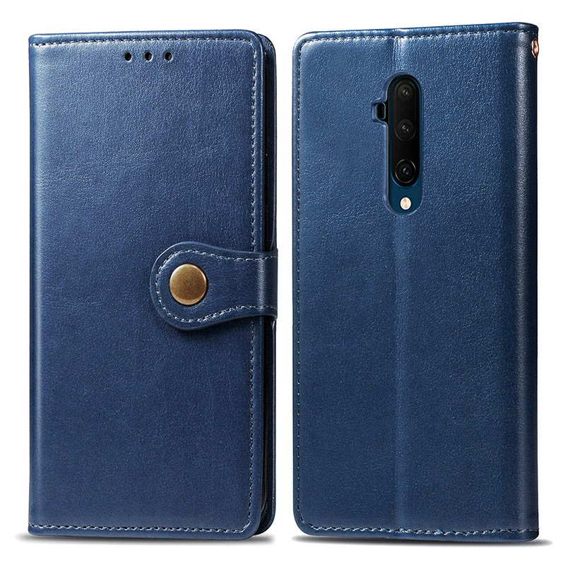 Flip Stand Cover Magnetic PU Leather Wallet Case Full Wrap Phone Cover for OnePlus 7T Pro - Blue