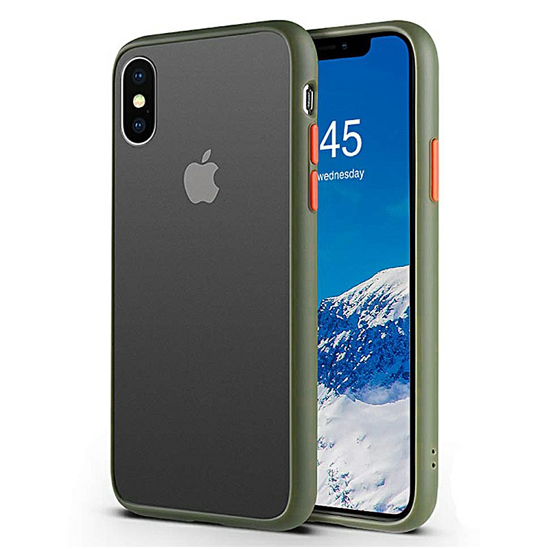 Contrast Color Matte Back Case Frosted Phone Case Fitted Case for iPhone XS Max - Army Green