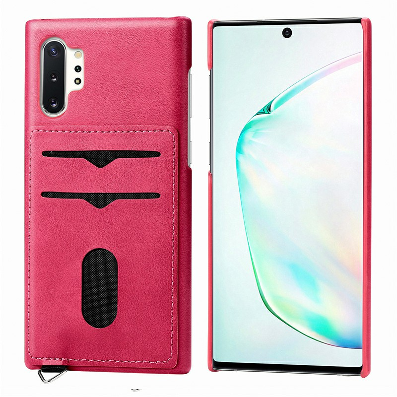 Leather Wallet Case with Two Card Slots Shockproof Back Cover for Samsung Galaxy Note 10 Plus - Hot Pink