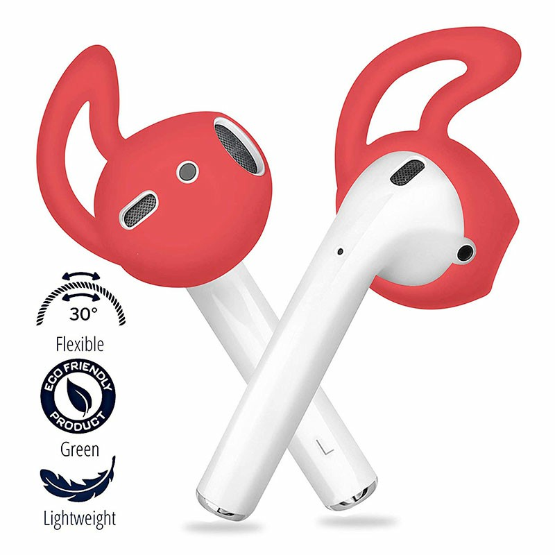 Ultra Thin EarPods Shark Fin Silicone Protective Case Cover for Airpods 1/2 - Red