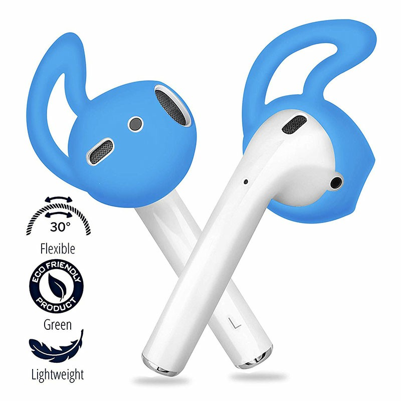 Ultra Thin EarPods Shark Fin Silicone Protective Case Cover for Airpods 1/2 - Blue