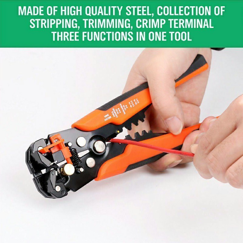 Wire Cutter Strippers Pliers Cable Crimper Self Adjusting Electric Tool Orange