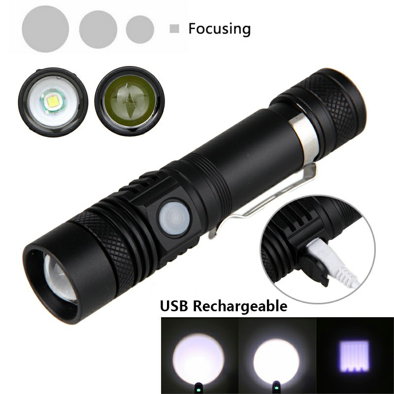 USB Rechargeable Flashlight Telescopic Zoom Waterproof Night Riding Camping Outdoor Led Flashlight