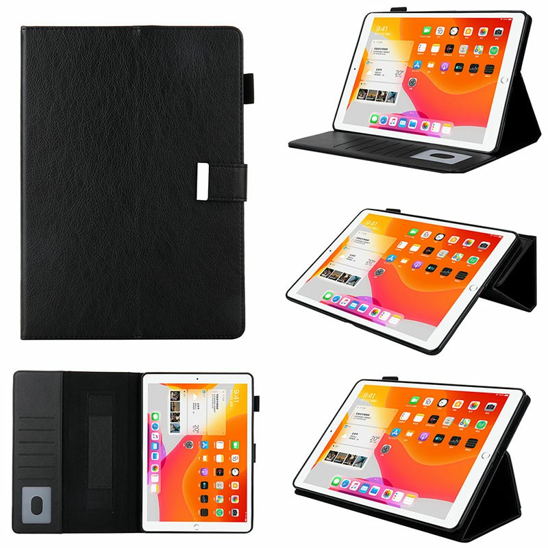 iPad PU Leather Case Multiple Viewing Flip Stand with Stylus Pen Holder Card Slot for iPad 5/6/7/8/9 - Black