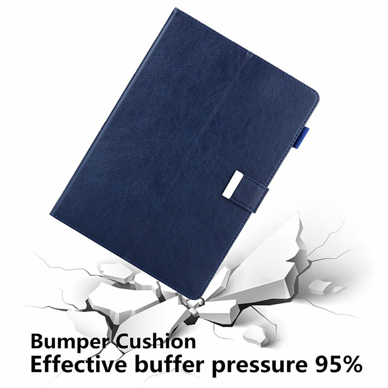 iPad PU Leather Case Multiple Viewing Flip Stand with Stylus Pen Holder Card Slot for iPad 5/6/7/8/9 - Blue