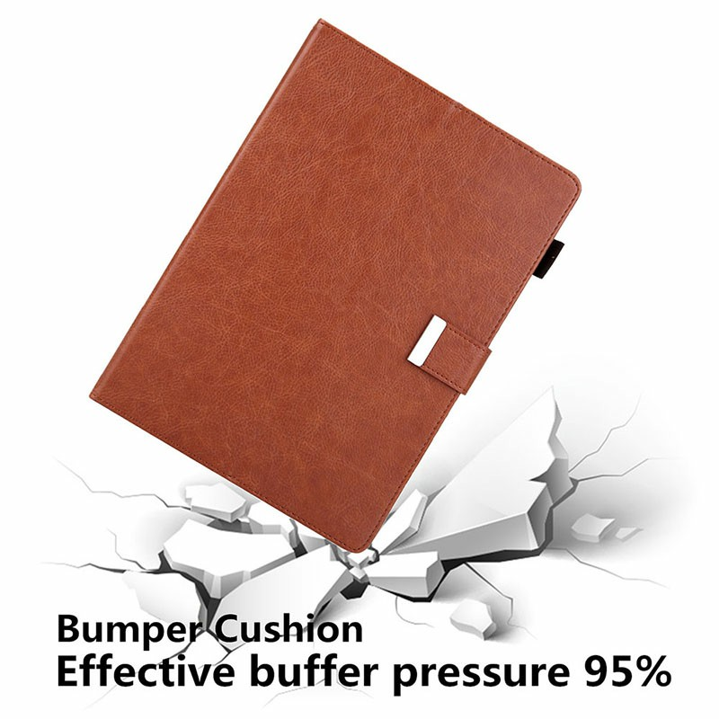 iPad PU Leather Case Multiple Viewing Flip Stand with Stylus Pen Holder Card Slot for iPad 5/6/7/8/9 - Brown