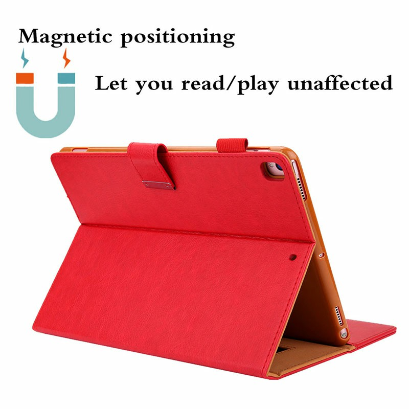 iPad PU Leather Case Multiple Viewing Flip Stand with Stylus Pen Holder Card Slot for iPad 5/6/7/8/9 - Red