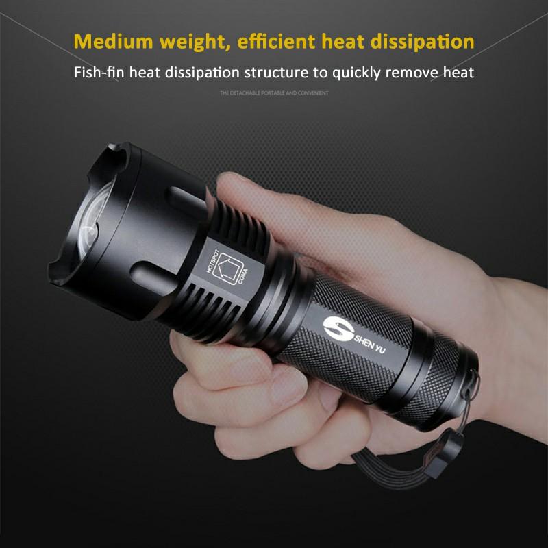 T6 Super Bright Zoom Dimmable Flashlight LED Tactical Work Light USB Long Range Flashlight