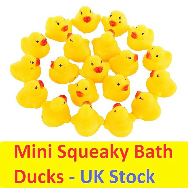 20pcs Mini Yellow Bathtime Rubber Ducks Bath Toy Squeaky Water Play Toys for Kids and Toddlers