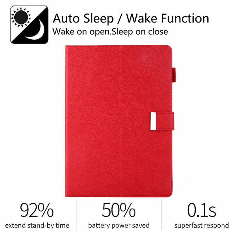iPad PU Leather Protective Case with Hand Strap Stylus Pen Holder Card Slot for iPad 10.2/10.5 inch - Red