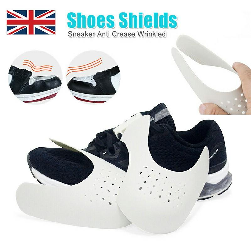 Reusable Anti Crease Sneaker Shields Shoe Trainer Protector Toe Box Decreaser for Women UK 3-6.5 - White