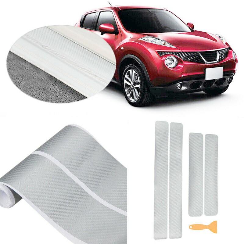 4 pcs 3D Carbon Fiber Anti Scratch Car Door Plate Sticker Outlander Sill Scuff Cover Protect Sticker - Silver