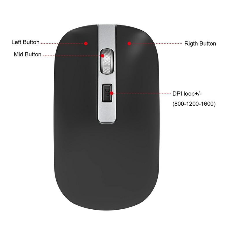 M30 2.4GHz Wireless 4-Keys Silent Adjustable DPI Ergonomics Optical Vertical Mouse - Black