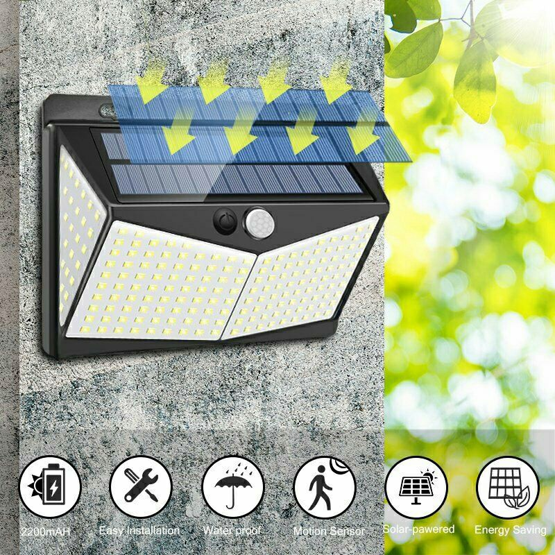 208 LEDs Solar Powered Light Outdoor PIR Motion Sensor Garden Security Wall Lamp