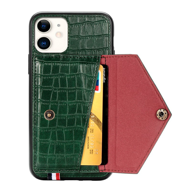 Shockproof Flip Phone Cover Protective Wallet Case Crocodile Leather Cover with Card Slot for iPhone 11 - Green