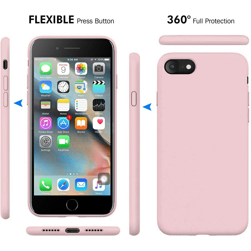 Ultra Soft Silicone and Slim Protective Back Cover Shockproof Phone Case for iPhone 7 iPhone 8 - Pink