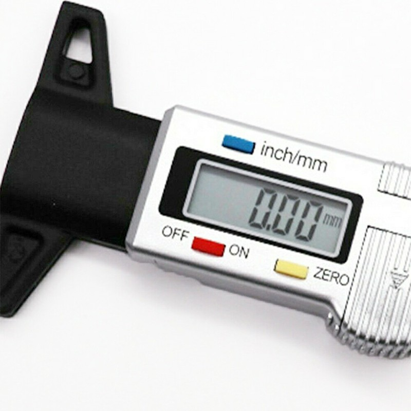 0-25mm LCD Digital Tyre Depth Gauge Caliper Tread Motorbike Car Truck Tester Measurer - Silver