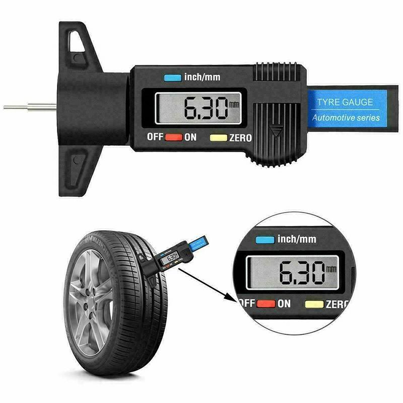 0-25mm LCD Digital Tyre Depth Gauge Caliper Tread Motorbike Car Truck Tester Measurer - Black