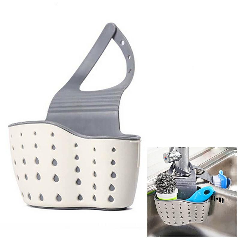 Hanging Storage Drain Basket Portable Sink Organizer Rack Sponge Holder Kitchen - Beige