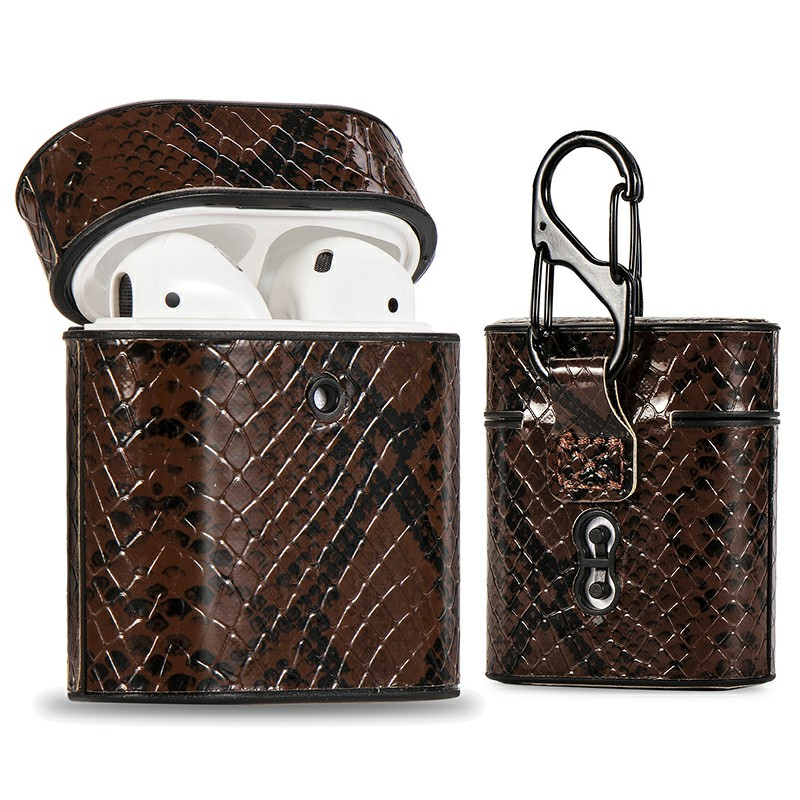 Protective Leather Snakeskin Pattern Airpods Case with Clasp Hook Clip Case for Airpods 1/2 - Brown