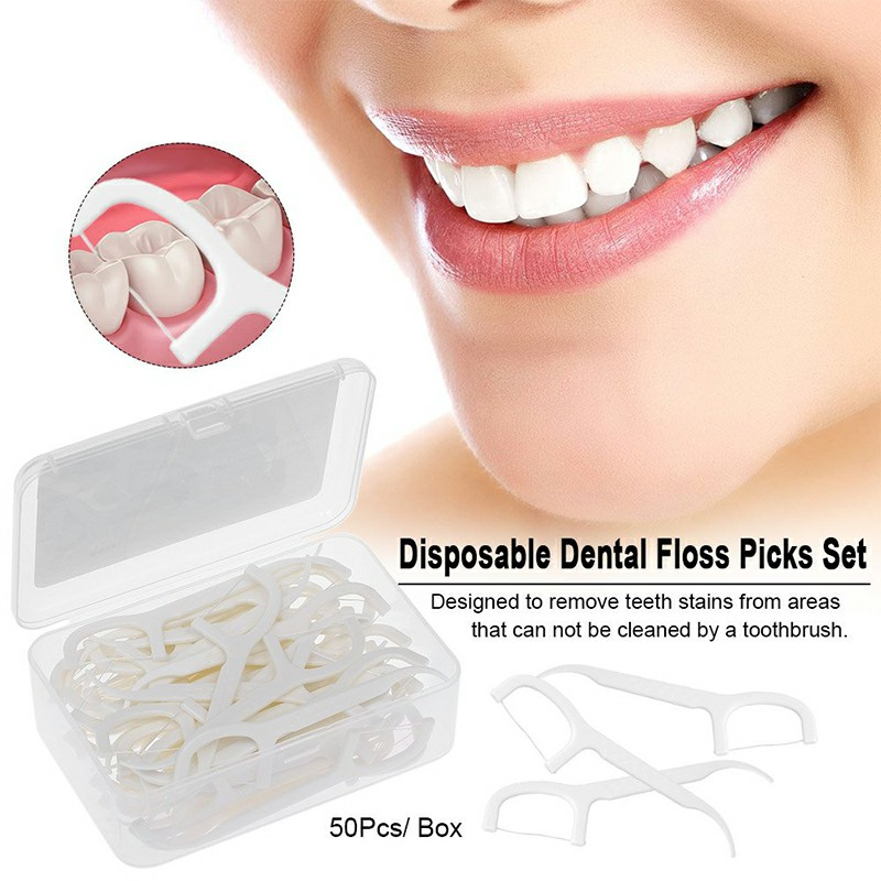 50pcs Disposable Toothpick Oral Care Tooth Floss Pick Clean Teeth Stick Dental Floss Tooth Picks