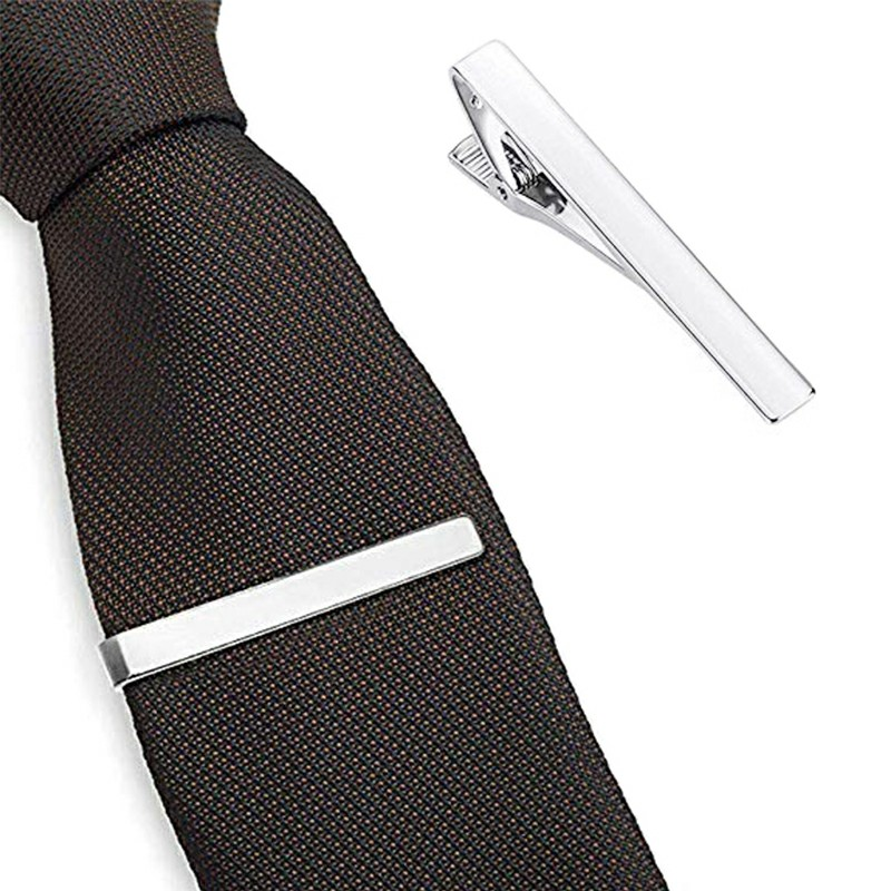 Skinny Tie Bar Clasp Tie Clip Tie Pin Gloss Stickpin Necktie Copper for Mens - Silver
