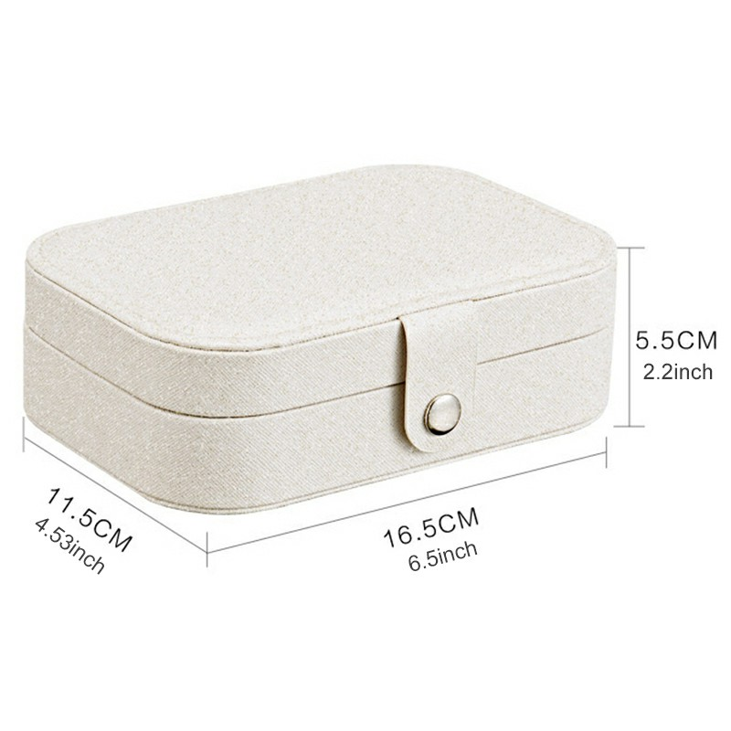 Mini Small Jewelry Organizer Display Storage Case for Women Earrings Rings Leather Box Organiser - White