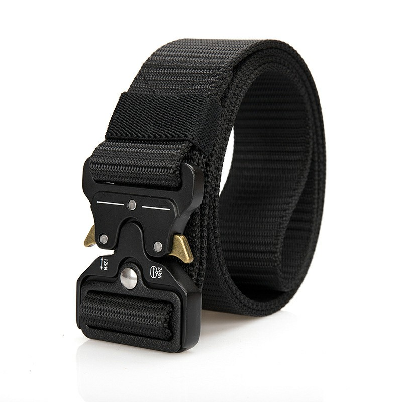 Nylon Waist Belts Zinc Alloy Tactical Belt Quick Release Inserting Buckle - Black
