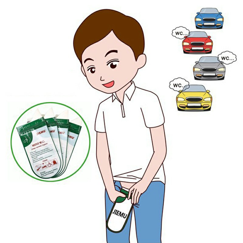 4pcs 700ml Emergency Portable Car Urine Bag Vomit Bags Mini Mobile Toilets Disposable Handy Unisex Using Outdoor - Green