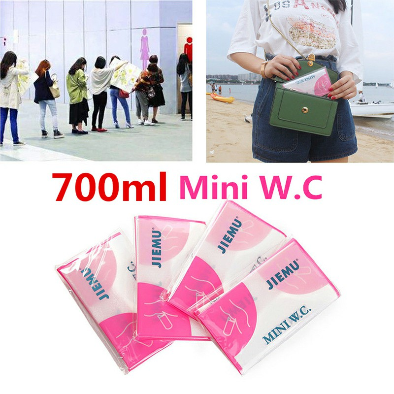 4pcs 700ml Emergency Portable Car Urine Bag Vomit Bags Mini Mobile Toilets Disposable Handy Unisex Using Outdoor - Pink