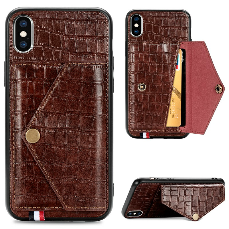 Leather Back Case Crocodile Pattern with Stand Holder Card Slot Protective Cover for iPhone X iPhone XS - Brown