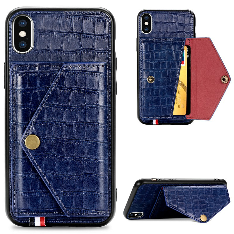 Leather Back Case Crocodile Pattern with Stand Holder Card Slot Protective Cover for iPhone X iPhone XS - Blue