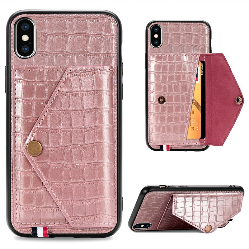 Leather Back Case Crocodile Pattern with Stand Holder Card Slot Protective Cover for iPhone X iPhone XS - Rose Gold