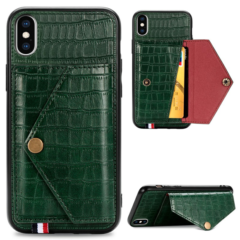 Leather Back Case Crocodile Pattern with Stand Holder Card Slot Protective Cover for iPhone X iPhone XS - Green