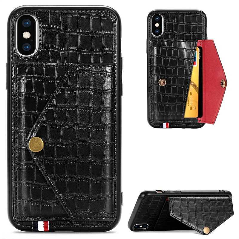 Leather Back Case Crocodile Pattern with Stand Holder Card Slot Protective Cover for iPhone X iPhone XS - Black