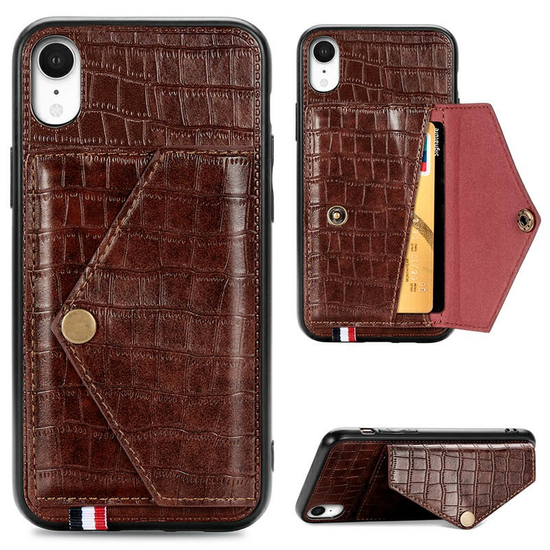 Leather Protective Phone Cover Crocodile Pattern Back Case with Stand Holder Card Slot for iPhone XR - Brown