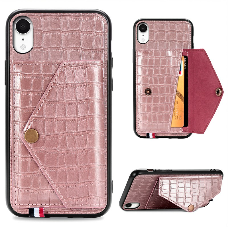 Leather Protective Phone Cover Crocodile Pattern Back Case with Stand Holder Card Slot for iPhone XR - Rose Gold