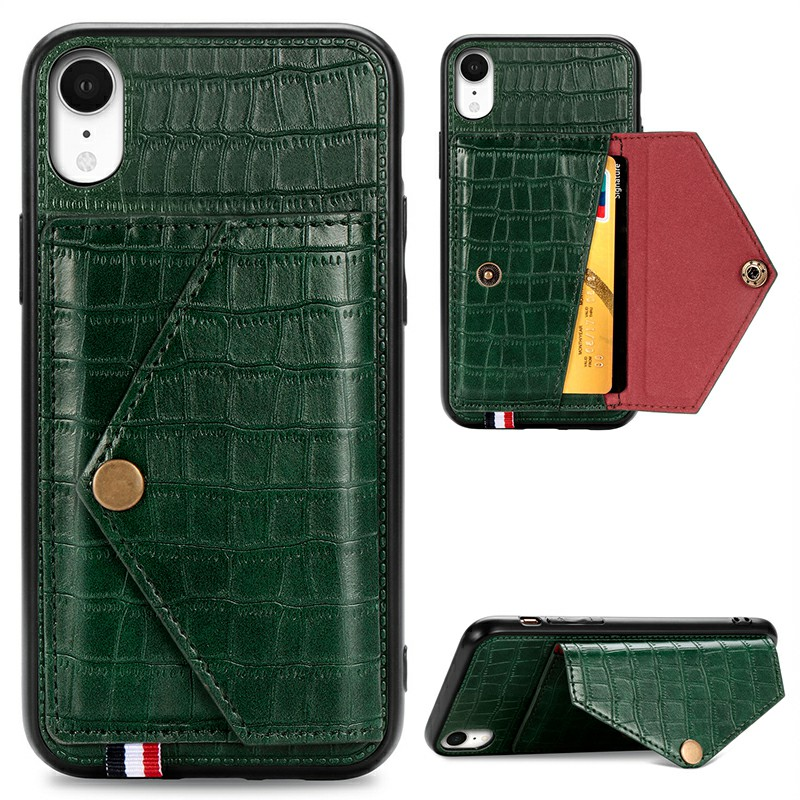 Leather Protective Phone Cover Crocodile Pattern Back Case with Stand Holder Card Slot for iPhone XR - Green