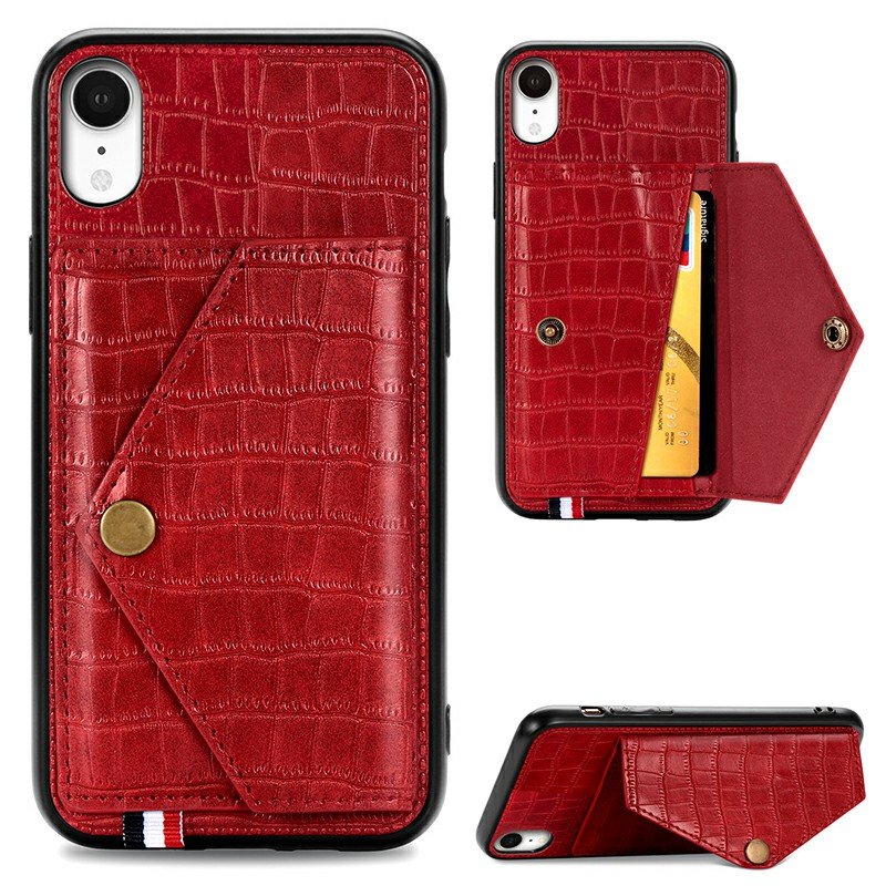 Leather Protective Phone Cover Crocodile Pattern Back Case with Stand Holder Card Slot for iPhone XR - Red