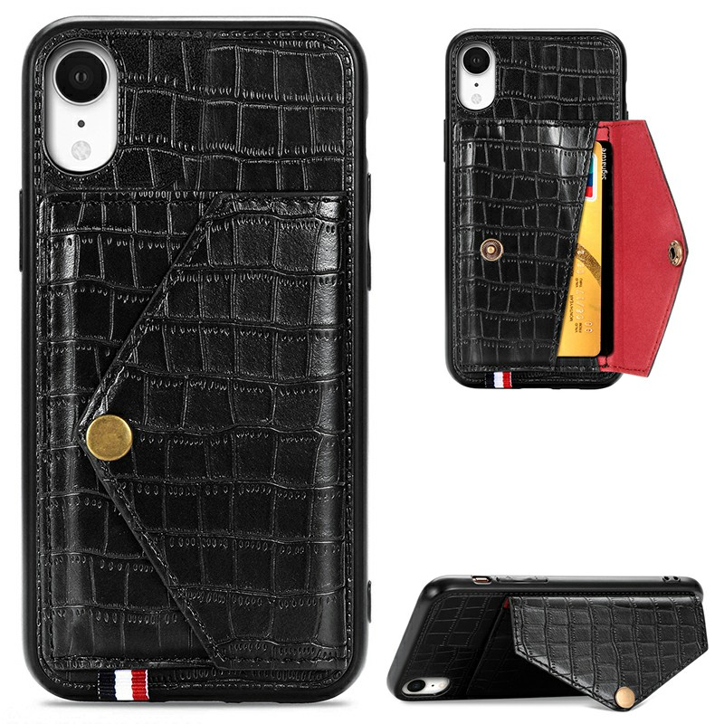 Leather Protective Phone Cover Crocodile Pattern Back Case with Stand Holder Card Slot for iPhone XR - Black