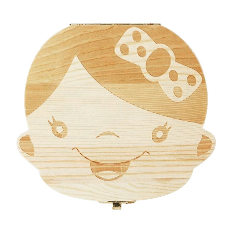 Tooth Box Organizer Milk Teeth Wood Storage First Tooth Keepsake Baby Tooth Save Kids Box - Girl