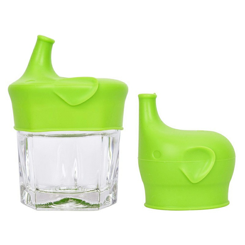 Elephant Spillproof Leakproof Silicone Kids Lids for Babies and Toddlers Feeding Bottle - Green
