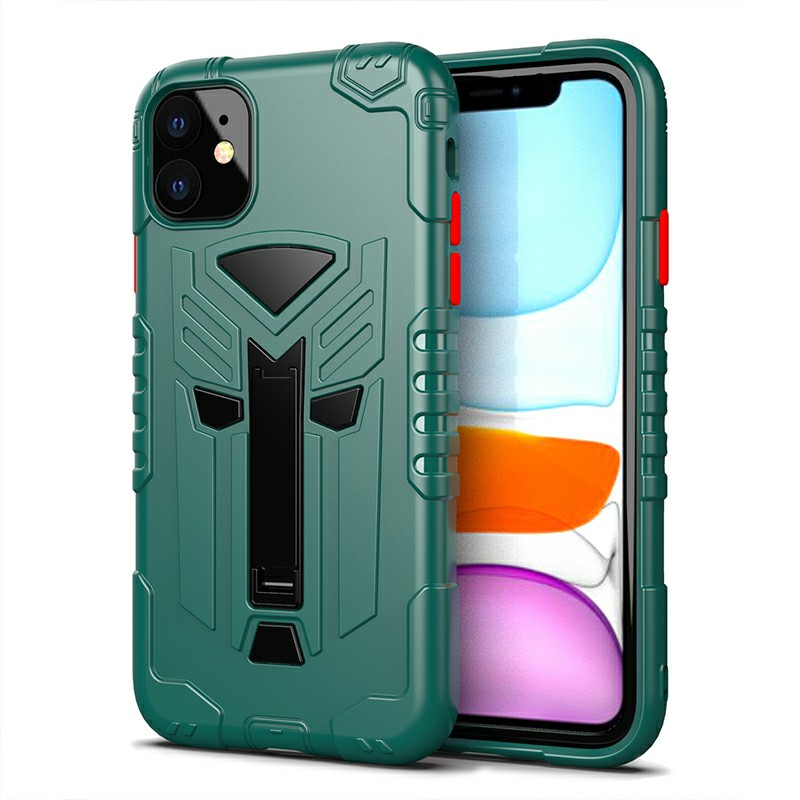 TPU Protective Case Phone Back Cover Heavy Duty Fashion Rugged Armor Slim Case for iPhone 11 - Green