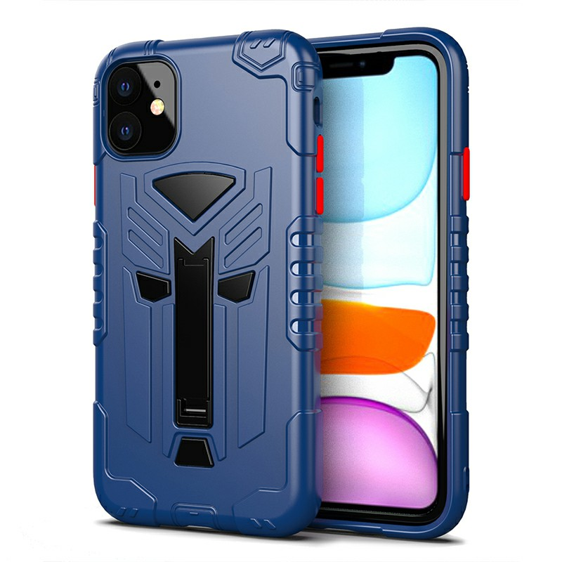 TPU Protective Case Phone Back Cover Heavy Duty Fashion Rugged Armor Slim Case for iPhone 11 - Blue
