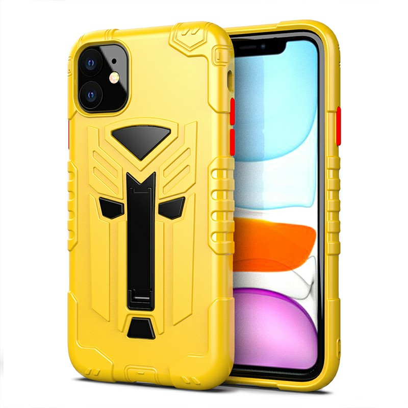 TPU Protective Case Phone Back Cover Heavy Duty Fashion Rugged Armor Slim Case for iPhone 11 - Yellow