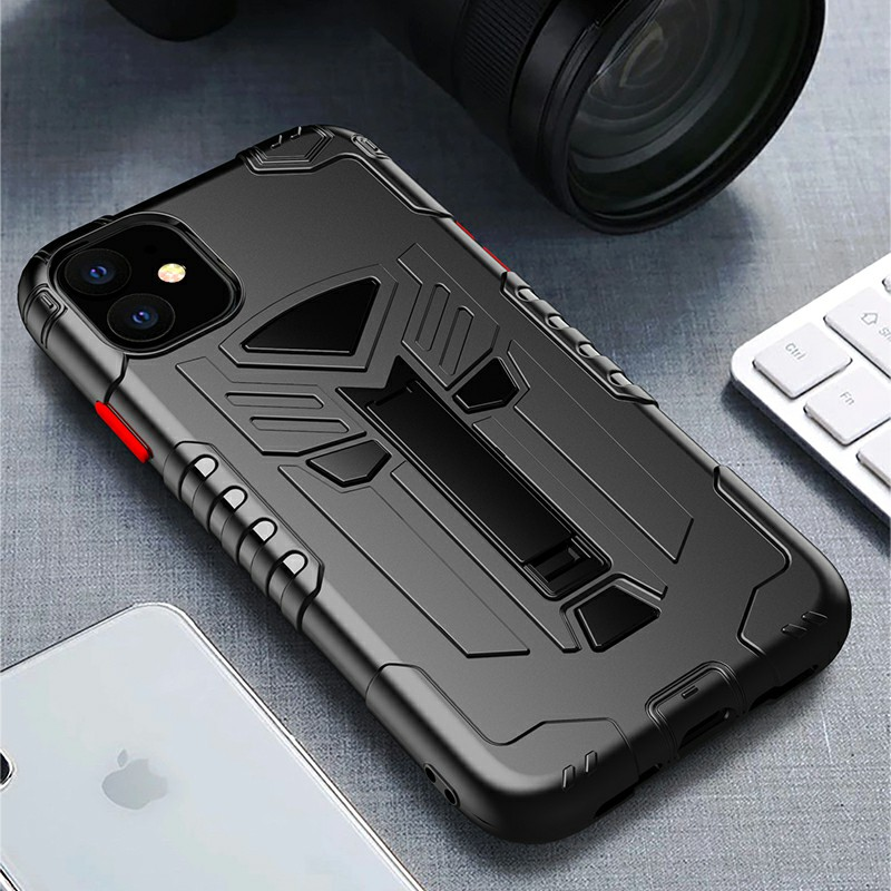 TPU Protective Case Phone Back Cover Heavy Duty Fashion Rugged Armor Slim Case for iPhone 11 - Black